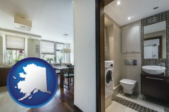alaska map icon and a modern bathroom and kitchen