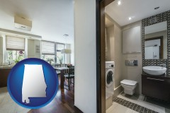 alabama map icon and a modern bathroom and kitchen