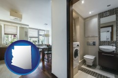 arizona map icon and a modern bathroom and kitchen