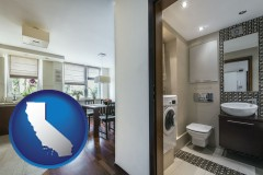 california map icon and a modern bathroom and kitchen
