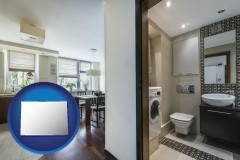 colorado map icon and a modern bathroom and kitchen