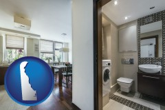 delaware map icon and a modern bathroom and kitchen