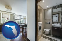 florida map icon and a modern bathroom and kitchen