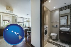 hawaii map icon and a modern bathroom and kitchen