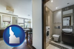 idaho map icon and a modern bathroom and kitchen