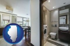 illinois map icon and a modern bathroom and kitchen
