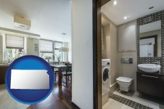 kansas map icon and a modern bathroom and kitchen