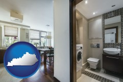 kentucky map icon and a modern bathroom and kitchen