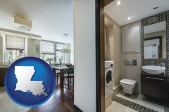 louisiana map icon and a modern bathroom and kitchen
