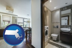 massachusetts map icon and a modern bathroom and kitchen
