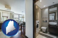 maine map icon and a modern bathroom and kitchen