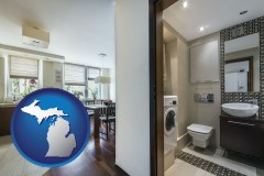 michigan map icon and a modern bathroom and kitchen