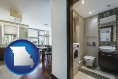 missouri map icon and a modern bathroom and kitchen