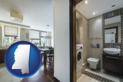mississippi map icon and a modern bathroom and kitchen