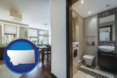 montana map icon and a modern bathroom and kitchen