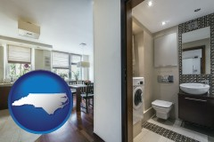 north-carolina map icon and a modern bathroom and kitchen