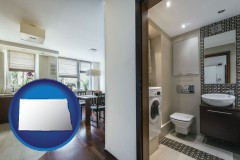north-dakota map icon and a modern bathroom and kitchen