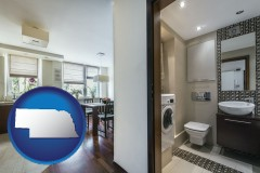 nebraska map icon and a modern bathroom and kitchen