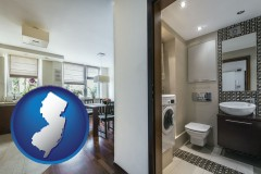 new-jersey map icon and a modern bathroom and kitchen