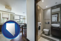 nevada map icon and a modern bathroom and kitchen