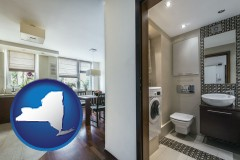 new-york map icon and a modern bathroom and kitchen