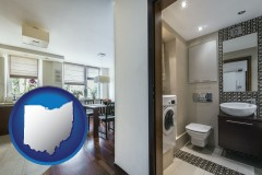 ohio map icon and a modern bathroom and kitchen