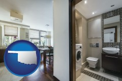 oklahoma map icon and a modern bathroom and kitchen