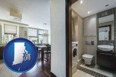 rhode-island map icon and a modern bathroom and kitchen
