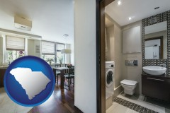 south-carolina map icon and a modern bathroom and kitchen