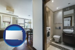 south-dakota map icon and a modern bathroom and kitchen