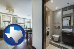 texas map icon and a modern bathroom and kitchen