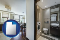 utah map icon and a modern bathroom and kitchen