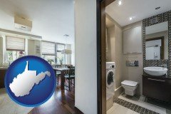 west-virginia map icon and a modern bathroom and kitchen