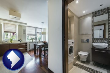 a modern bathroom and kitchen - with Washington, DC icon