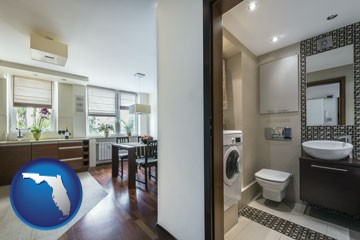 a modern bathroom and kitchen - with Florida icon
