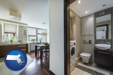 a modern bathroom and kitchen - with Massachusetts icon