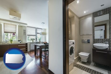 a modern bathroom and kitchen - with Pennsylvania icon