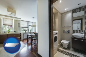 a modern bathroom and kitchen - with Tennessee icon