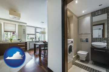 a modern bathroom and kitchen - with Virginia icon