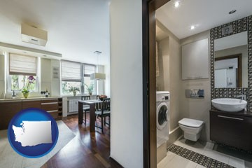 a modern bathroom and kitchen - with Washington icon