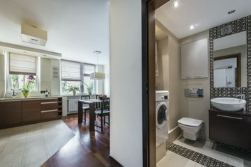 a modern bathroom and kitchen